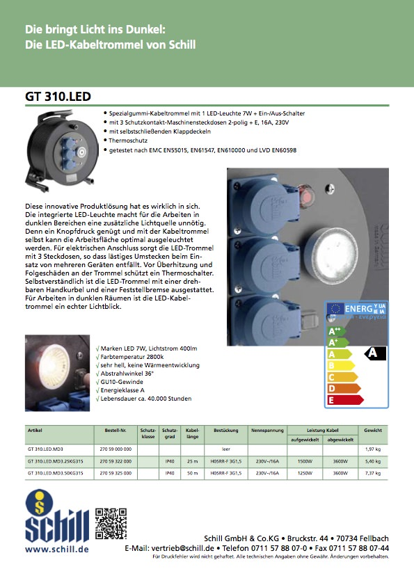 Schill Flyer Kabeltrommel LED
