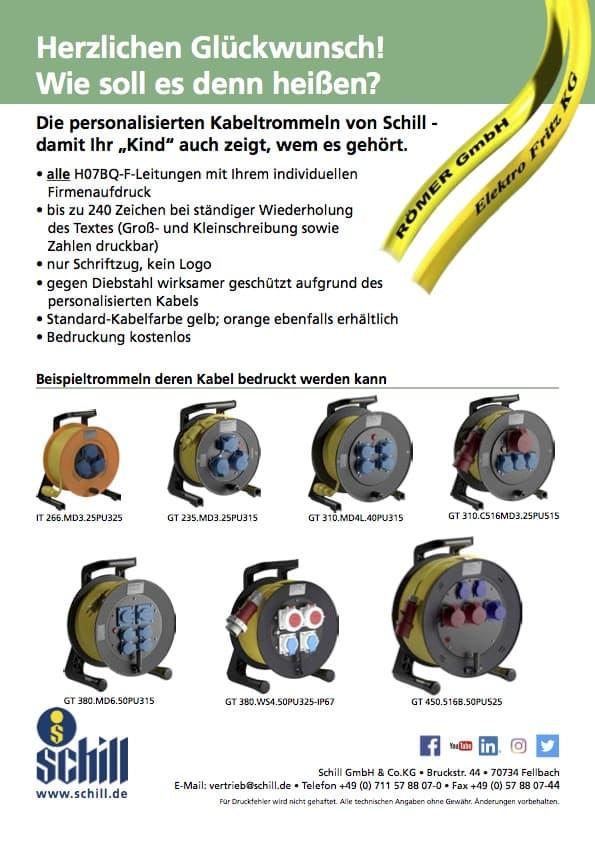Schill Flyer zur kostenlosen Kabelbedruckung